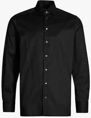 Eton Contemporary-fit cotton-twill shirt, Mens, Size: 15.5, 12:00:00, Light blue