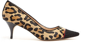 Lucy Choi London Louise Leopard Ponyhair Mid Heel Shoes