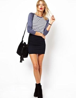 Asos Denim Seamed Micro Skirt