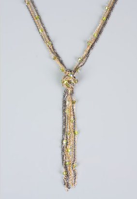 Chain & Bead Lariat Necklace in Olive/Multi