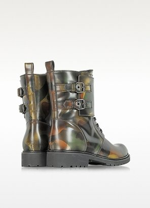 Loriblu Camouflage Leather Combat Boot