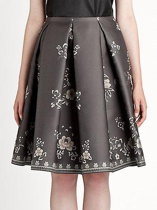 Jil Sander Navy Silk Jacquard Skirt