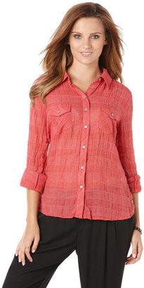 C&C California Crinkle ticking windowpane shirt