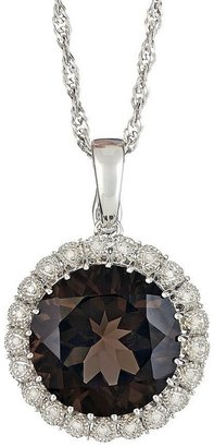 "Sterling Quartz & Diamond Pendant with 18"" Chain"