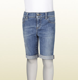 Gucci Bright Blue Stretch Denim Bermuda Short