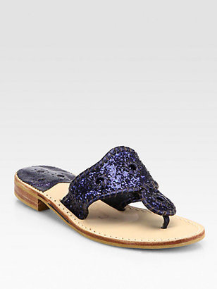 Jack Rogers Glitter Metallic Leather Thong Sandals