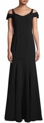 Marchesa Embellished Cold-Shoulder Gown