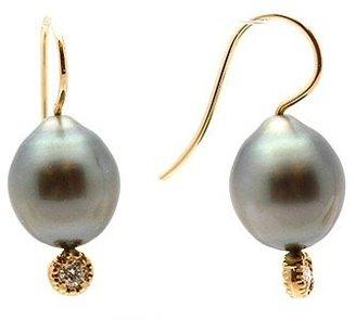 "Mizuki E20-BP-Y"" 14K Gold Diamonds Pearl Earrings"