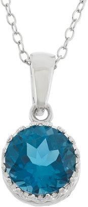 Tiara London Blue Topaz terling Silver Pendant Necklace