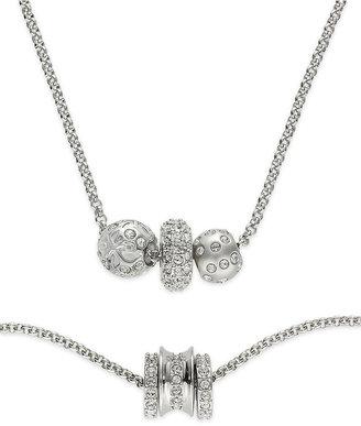 Swarovski Jewelry Set, Rhodium-Plated Crystal Bead Necklace and Bracelet Set