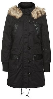New Look Only Black Faux Fur Trim Hooded Parka Coat