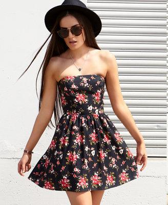 Forever 21 Strapless Rose Print Dress
