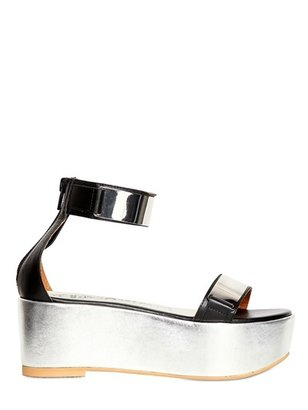Jeffrey Campbell 60mm Mirror Plaque Leather Wedges