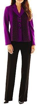 Le Suit 3-Button Pant Suit with Scarf