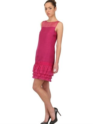 Giambattista Valli Organza Ruffled Hem Linen Dress