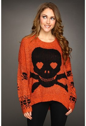 Gabriella Rocha Liva Skull Knit Sweater (Orange) - Apparel