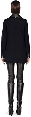 Mackage Phylis Biker Navy Wool Coat With Leather Collar