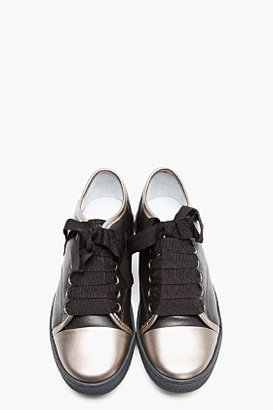 Lanvin Black Leather Silver-Trimmed Sneakers