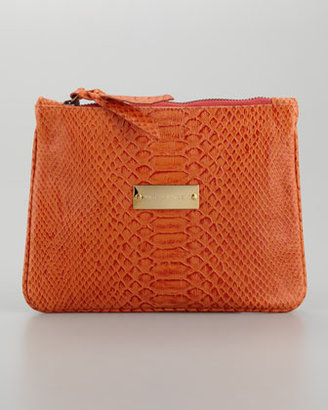 Cynthia Vincent Snake-Embossed Pouch, Tangerine