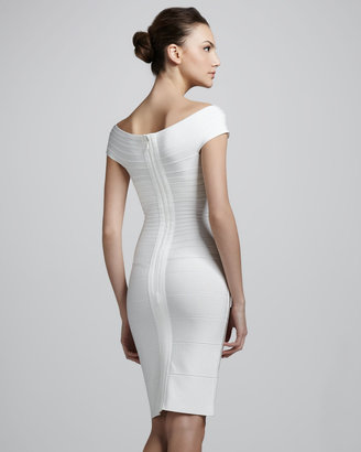 Herve Leger Cap-Sleeve Bandage Dress