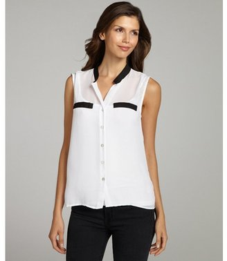 Wyatt vintage crepe woven sleeveless button front top