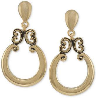 Carolee Earrings, Gold-Tone Door Knocker Drop Earrings