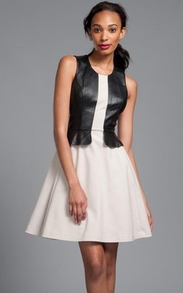 Tracy Reese Black/Platinum Contrast Leather Peplum Frock