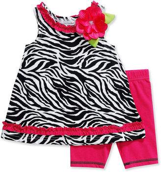 Sweet Heart Rose Kids Set, Little Girls Zebra-Print Dress and Bike Shorts