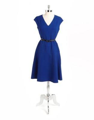 Anne Klein Belted Textured A-Line Dress