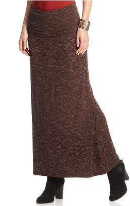 Studio M Skirt, Marled-Knit Foldover Maxi