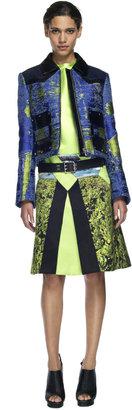 Proenza Schouler Blue and Sulphur Zip Front Jacket
