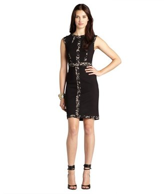 ABS by Allen Schwartz black and nude stretch knit lace detail cap sleeve dress
