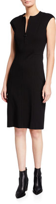 Akris Punto Cap-Sleeve Zip-Front Seamed Dress, Black