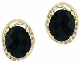 Effy 14K Yellow Gold Earrings with Onyx and 0.2 TCW Diamonds