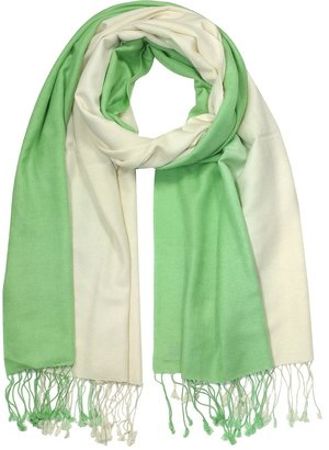 Forzieri Green/White Pashmina & Silk Shawl