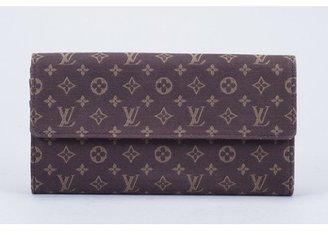 Louis Vuitton excellent (EX Mini Lin Canvas Ebene Portefeuille Sarah Long Wallet