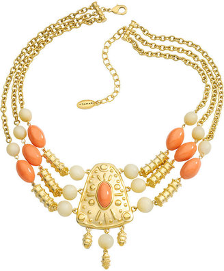 T Tahari Necklace, Gold-Tone Coral and Sand Resin Bead Statement Necklace