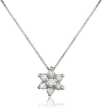 Forzieri 0.11 ct Diamond Flower 18K Gold Pendant Necklace