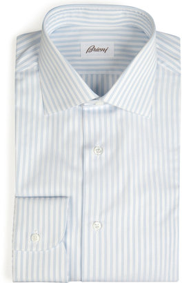 Brioni White/Blue Striped Cotton Michael Shirt