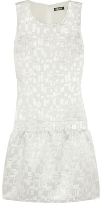 DKNY Metallic cotton-blend jacquard dress