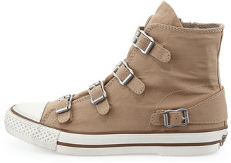 Ash Virgin Buckled Canvas Sneaker, Chamois