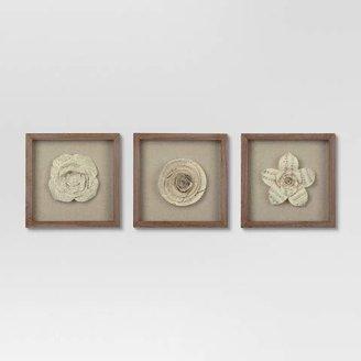 """Threshold Set of 3) 11""""x11"""" Framed Paper Flower - ThresholdTM"""