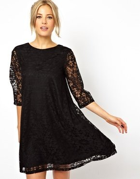 Asos Swing Dress In Lace With Half Sleeve - Black