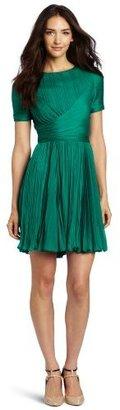Halston Women's Short-Sleeve Crewneck Pleated Dress