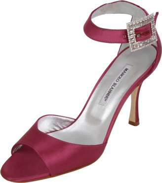 Manolo Blahnik Open Toe Sandal with Jeweled Buckle