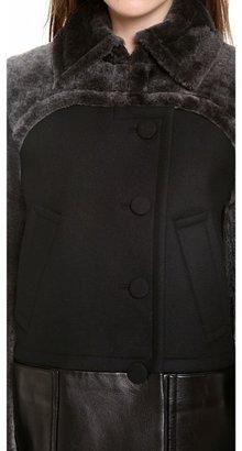 Alexander Wang Shearling Pea Coat with Bolero