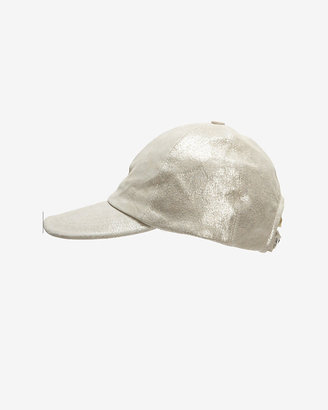 Exclusive for Intermix Leather Baseball Cap: Silver