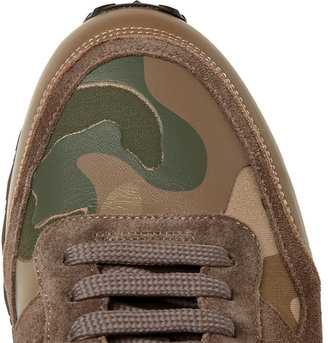 Valentino Camouflage-Printed Leather and Canvas Sneakers