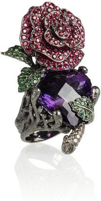 Lydia Courteille Secret Garden 18-karat blackened white gold multistone ring