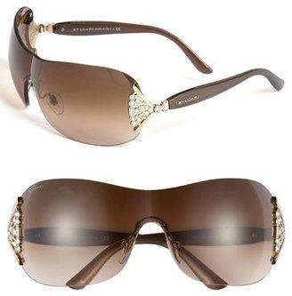 Bulgari BVLGARI 63mm Swarovski Crystal Rimless Shield Sunglasses